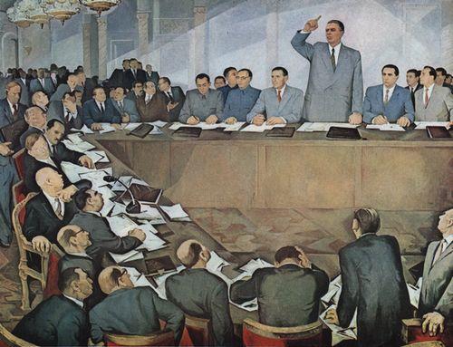 Projev Envera Hodži na mezinárodním setkání komunistických a dělnických stran v r. 1960 (albánský obraz z r. 1974)